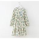 ieftine Costum Baie Fete-Copii Fete De Bază Geometric Imprimeu Manșon Lung Lungime Genunchi Poliester Rochie Verde Deschis 140