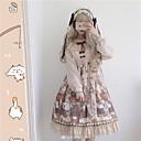 preiswerte Lolita Kleider-Niedlich Niedlich Prinzessin Chiffon Weiblich Kleid Cosplay Beige Ein Hauch Langarm Midi Halloween Kostüme