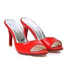baratos Sapatos de Noiva-Mulheres Sapatos Confortáveis Couro Ecológico Verão Sandálias Salto Agulha Branco / Vermelho