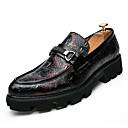 זול נעלי ספורט לגברים-בגדי ריקוד גברים נעלי נוחות PU סתיו עסקים נעליים ללא שרוכים ללא החלקה קולור בלוק שחור / אדום / כחול