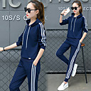 cheap Foundations-Women's Pullover Pocket / Beam Foot Tracksuit - Black, Red, Blue Sports Stripe, Fashion Hoodie / Pants / Trousers Yoga, Running, Fitness Long Sleeve Plus Size Activewear Sweat-wicking Stretchy Slim