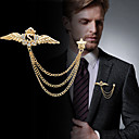 cheap Pins and Brooches-Men's Cubic Zirconia Stylish / Link / Chain Brooches - Creative, Wings Statement, Fashion, British Brooch Gold / Silver For Party / Daily