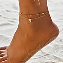 hesapli Moda Bileklikler-Kadın's Ayak bileziği Ayak bileği bilezik ayak takı Çoklu Katman Kıvrımlı Yoga Sweet Heart zarif Bayan Basit Bohem Moda Ayak bileziği Mücevher Altın / Gümüş Uyumluluk Hediye Tatil