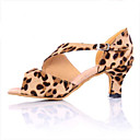 cheap Women's Sandals-Women's Samba Shoes Satin Sneaker Cuban Heel Dance Shoes Leopard
