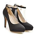 cheap Women's Heels-Women's Comfort Shoes PU(Polyurethane) Spring Heels Stiletto Heel Black / Silver / Pink