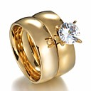 cheap Necklaces-Couple's Classic Solitaire Couple Rings - Stainless Crown Stylish, Simple, Classic 7 / 8 / 9 / 10 / 11 Gold For Gift Date / 2pcs