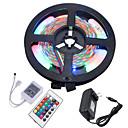 billige LED Strip Lamper-HKV 5 m Fleksible LED-lysstriper / RGB-lysstriper 300 LED 3528 SMD RGB Kuttbar / Koblingsbar / Selvklebende 12 V