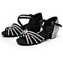 hesapli Latin Dans Ayakkabıları-Kadın's Latin Dans Ayakkabıları Saten Topuklular Işıltılı Pullar / Toka / Kristal Detaylar Kalın Topuk Kişiselleştirilmiş Dans Ayakkabıları Siyah / Kahverengi / Mavi