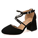 cheap Women's Sandals-Women's Pumps PU(Polyurethane) Fall Heels Chunky Heel Square Toe Buckle Black / Pink / Khaki / Daily