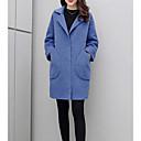 preiswerte Tischlampe-Damen Ausgehen Lang Mantel, Solide Gefaltete Kragen Langarm Polyester Blau / Beige XXL / XXXL / 4XL