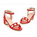 ieftine Sandale de Damă-Pentru femei Pantofi de confort Piele de Căprioară Vară Sandale Toc Îndesat Negru / Bej / Rosu