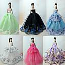 billige Hatter, capser og hodetørklær-Prinsesse Lolita / Elegant / Ballkjole Kjoler 6 pcs Til Barbiedukke organza Dukkeklær Til Jentas Dukke