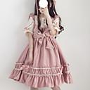 billiga Lolitaklänningar-Söt Lolita Casual Lolita Klänning Söt Lolita söt stil Dam Klänningar Cosplay Svart / Röd / Rosa Kronblad Kortärmad Midi Kostymer