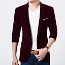 preiswerte Kleidung für Lateinamerikanischen Tanz-Herrn Party / Alltag / Arbeit Standard Blazer, Solide Schal Revers Langarm Polyester Blau / Schwarz / Wein XL / XXL / XXXL / Schlank