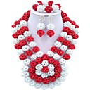 cheap Necklaces-Women's Layered Jewelry Set - Fashion Include Strands Necklace Red / Green / Hot Pink For Party Daily