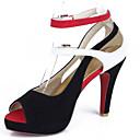 hesapli Kadın Topukluları-Kadın's Sandaletler Konforlu Ayakkabılar Stiletto Topuk PU Yaz Siyah / Siyah / Beyaz