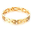 cheap Bracelets-Men's Hollow Out Chain Bracelet - 18K Gold Plated, Titanium Steel, Platinum Plated Stylish, Unique Design, Trendy Bracelet Jewelry Gold / Black For Daily Street / Stainless