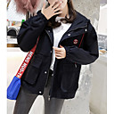 cheap Rings-Women's Daily Military Regular Jacket, Contemporary Hooded Long Sleeve Polyester Black / Pink / Khaki L / XL / XXL