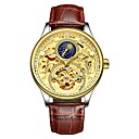 cheap Smartwatches-Tevise Men's Mechanical Watch Japanese Automatic self-winding 30 m Water Resistant / Water Proof Noctilucent Moon Phase Genuine Leather Band Analog Casual Fashion Black / Brown - Black / Gold Gold