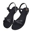 رخيصةأون أحذية لاتيني-نسائي أحذية الراحة Leather نابا الصيف صنادل كعب منخفض أبيض / أسود / لون الجمل