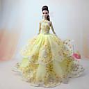 baratos Acessórios de Boneca-Vestidos Vestir Para Boneca Barbie Amarelo Claro Tule / Renda / Mistura de Seda / Algodão Vestido Para Menina de Boneca de Brinquedo