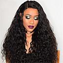 olcso Emberi hajból készült parókák-Remy haj Csipke Csipke eleje Paróka Brazil haj Afro Kinky Fekete Paróka Aszimmetrikus frizura 130% 150% 180% Haj denzitás baba hajjal Női Egyszerű öntettel Sexy Lady Természetes Fekete Női Hosszú
