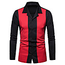 cheap TV Boxes-Men's Business / Basic Shirt - Solid Colored / Color Block Patchwork