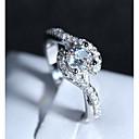 Χαμηλού Κόστους Μοδάτο Δαχτυλίδι-Γυναικεία Κομψό Crossover HALO Δαχτυλίδι Χαλκός Επιμεταλλωμένο με Πλατίνα Προσομειωμένο διαμάντι Love κυρίες Ρομαντικό Μοντέρνα Γαλλικά Μοδάτο Δαχτυλίδι Κοσμήματα Ασημί Για