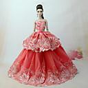 abordables Accesorios para muñecas-Vestidos Vestir por Barbiedoll Naranja rojo Tul / Tela de Encaje / Mezcla de Seda y Algodón Vestido por Chica de muñeca de juguete