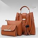olcso Tokok, táskák és pántok-Női Táskák PU táska szettek 3 db erszényes készlet Tömör szín Rubin / Arcpír rózsaszín / Khakizöld