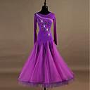 preiswerte Tanzkleidung für Balltänze-Für den Ballsaal Kleider Damen Leistung Elasthan / Organza Kristalle / Strass Langarm Kleid