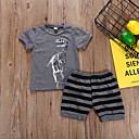 billige Sett med gutteklær-Barn / Baby Gutt Aktiv / Grunnleggende Ferie Stripet / Tegneserie Trykt mønster Kortermet Bomull Tøysett Grå