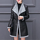 cheap Bag Sets-Women's Daily / Going out Street chic / Sophisticated Winter Plus Size Long Coat, Color Block Fold-over Collar Long Sleeve PU / Rayon Pleated Brown / Gray / Khaki XL / XXL / XXXL