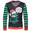 abordables Pines y Broches-Hombre Navidad Camiseta, Escote en Pico Geométrico / Manga Larga