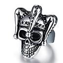 billiga Herringar-Herr Vintage Stil 3D Engraverad Bandring Statement Ring Titanstål Döskalle Vintage Punk Moderingar Smycken Svart Till Halloween Dagligen Street 9 / 10