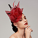 cheap Hair Braids-Feather / Net Fascinators / Headpiece with Feather / Floral / Flower 1pc Wedding / Special Occasion Headpiece