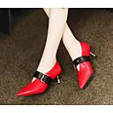 cheap Women's Heels-Women's Pumps Nappa Leather Spring Heels Heterotypic Heel Black / Red