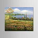 tanie Pejzaże-Hang-Malowane obraz olejny Ręcznie malowane - Kwiatowy / Roślinny Nowoczesny Naciągnięte płótka / Rozciągnięte płótno