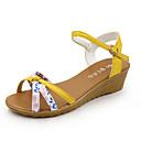 cheap Wedding Shoes-Women's Wedge Sandals PU(Polyurethane) Summer Sandals Wedge Heel Buckle Beige / Yellow