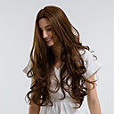 billige Syntetiske halvparykker-Syntetiske parykker Dame Krøllet Brun Midtdel Syntetisk hår 28 tommers Naturlig hårlinje Brun Parykk Mellemlængde Lokkløs Beige MAYSU
