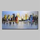 tanie Obrazy olejne-Hang-Malowane obraz olejny Ręcznie malowane - Abstrakcja / Krajobraz Nowoczesny Płótno