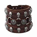 cheap Men's Bracelets-Men's Layered Vintage Style Vintage Bracelet Leather Bracelet - Leather Skull Stylish, Vintage, Punk Bracelet Brown For Street Bar