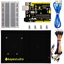 cheap Motherboards-Keyestudio UNO Board + 400 Tie-Points Breadboard + Chassis + Breadboard Wire Pack of 65 + USB Cable