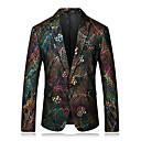 billige Herreblazere og jakkesæt-Herre Arbejde Normal Blazer, Regnbue Hakrevers Langærmet Polyester Regnbue XXL / XXXL / 4XL / Forretningsmæssigt afslappet
