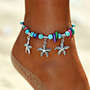 cheap Men's Bracelets-Women's Turquoise Beads Yoga Anklet Ankle Bracelet - Starfish Ladies, Dangling, Bohemian, Trendy Jewelry Silver For Holiday Bikini
