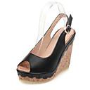 baratos Botas Femininas-Mulheres Sapatos Confortáveis Couro Ecológico Verão Sandálias Salto Plataforma Bege / Azul / Rosa claro
