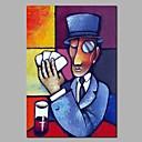 povoljno Ulja na platnu-Hang oslikana uljanim bojama Ručno oslikana - Sažetak / Ljudi Moderna Platno