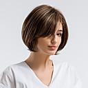 billige Lågløs-Human Hair Capless Parykker Menneskehår Lige Side del / Korte frisurer 2019 Natural Hairline Flerfarvet Lågløs Paryk Dame Dagligdagstøj
