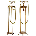 cheap Contemporary Duvet Covers-Shower Faucet - Antique Antique Copper Centerset Ceramic Valve Bath Shower Mixer Taps / Brass / Two Handles Two Holes