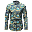 cheap Men's Boots-Men's Club Business / Street chic Plus Size Slim Shirt - Floral / Color Block Print / Long Sleeve